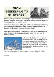 English worksheet: Sir Edmund Hillary