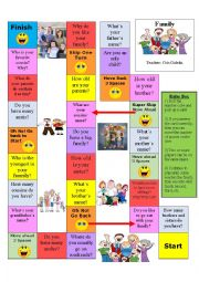 English worksheet: Family Conversation Board Game-Edited and Editable-Rules included