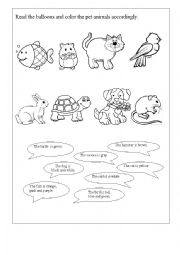English worksheet: Read and color the pets