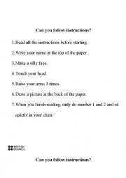 English worksheet: Can you follow instructions?
