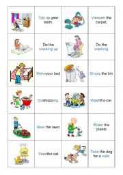 English worksheet: house chores - memory game