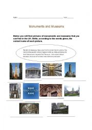 English worksheet: Monuments and museums