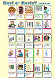 English worksheet: Classroom Rules with must or mustn´t