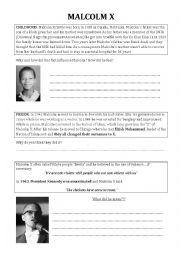 English Worksheet: Malcolm X - biography