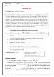 English Worksheet: diagnostic test reading, grammar and writing 9 year