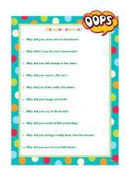 English worksheet: Excuses, excuses
