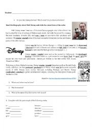 English Worksheet: Past Simple - Walt Disney (Reading and Grammar)
