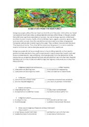 English Worksheet: A Sad Story from the Rain Forest