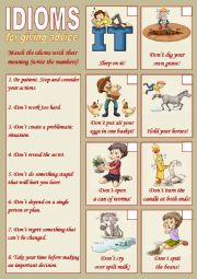 English Worksheet: Idioms for giving advice 1