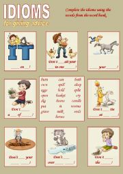 English Worksheet: Idioms for giving advice 2