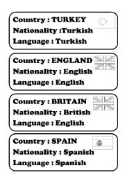English Worksheet: Countries-Nationalities-Languages-Flags