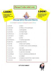 Phrasal Verbs with Look - worksheet, reading, game etc.