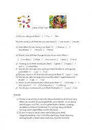 English Worksheet: JUNK FOOD TEST