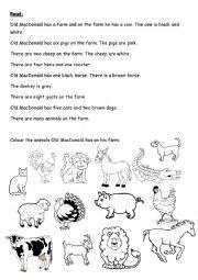 English Worksheet: Old MacDonald Reading
