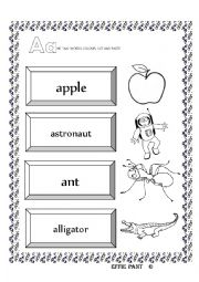 English worksheet: INTERACTIVE  BOOK - ALPHABET - THE LEETER A