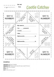 English Worksheet: Cootie Catcher,