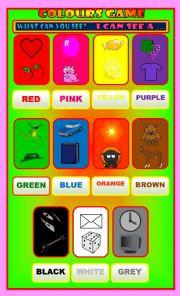 English Worksheet: Colour game display