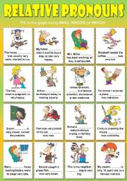 English Worksheet: Relative Pronouns (who, whose or which)
