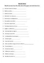 English Worksheet: Mad Libs Style Similes