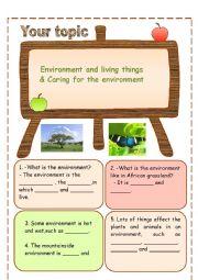 English Worksheet: ENVIRONMENT & LIVING THINGS