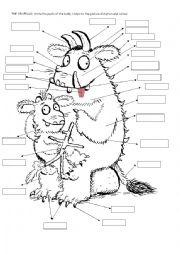 English Worksheet: Gruffalo. Parts of the body