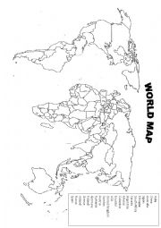 English Worksheet: world map