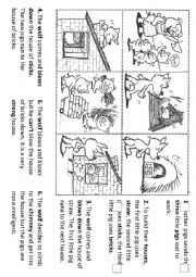 English Worksheet: Sequencing the story of the three little pigs