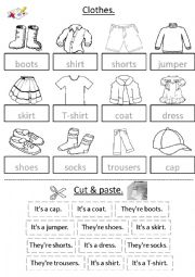 English Worksheet: Clothes - cut & paste with sentences