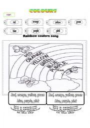 English Worksheet: Rainbow colours