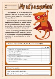 English Worksheet: My cat�s a superhero!