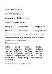 English Worksheet: Word Stress for Grade 3