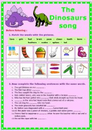 English Worksheet: The Dinosaurs song. Listening + video link + ex + KEY.