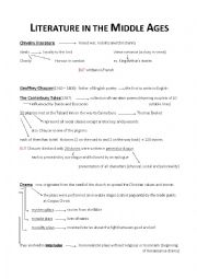 English Worksheet: Literature in the Middle Ages