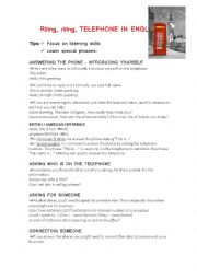 English Worksheet: Riing, riiing, Telephone in English!