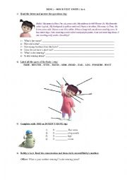 English Worksheet: Revision of Parts of  the body, clothes and personal information