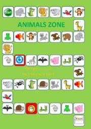 English Worksheet: ANIMALS BOARD GAME I
