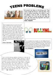 English Worksheet: TEEN PROBLEMS
