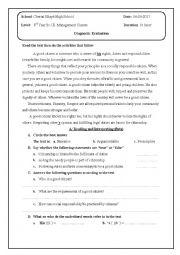English Worksheet: diagnostic evaluation