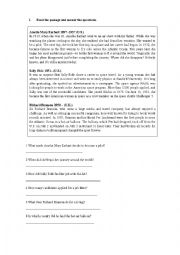 English Worksheet: Narrative Tenses in a Reading exercise