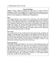 English Worksheet: Reading: Unusual Weddings
