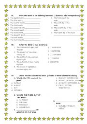 English Worksheet: TEST MONTHS, DAYS, SEASONS AND ORDINAL NUMBERS