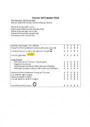 English Worksheet: Grammar Self Evaluation Sheet