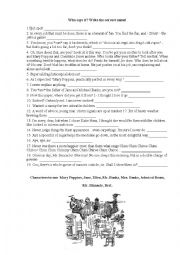 Mary Poppins Quotes Activity Worksheet