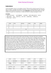 English Worksheet: Hotel & Retreat Schedule