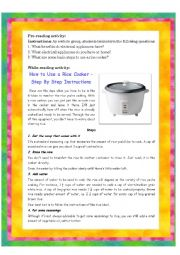 English Worksheet: Rice Cooker