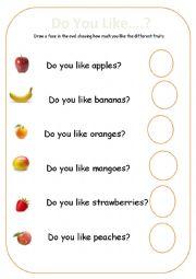 English Worksheet: Fruit Likes