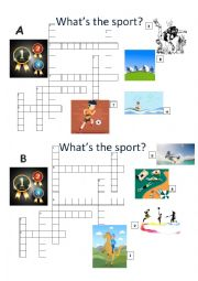 English Worksheet: SPORT CROSSWORD SPEAKING PAIR ACTIVITY