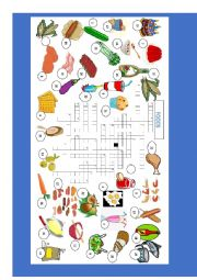 English Worksheet: Food Vocabulary crossword part 3 of a 3 set exercise