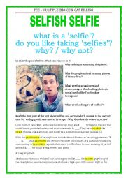 English Worksheet: FCE - SELFIES with a key