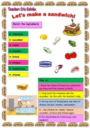 English Worksheet: COOKING CLASS FOR KIDS OR ELEMENTARY ADULTS